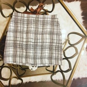 Loft White and Black Plaid Skirt